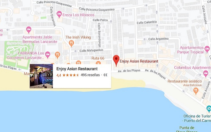 mapa enjoy asian restaurant puerto del carmen